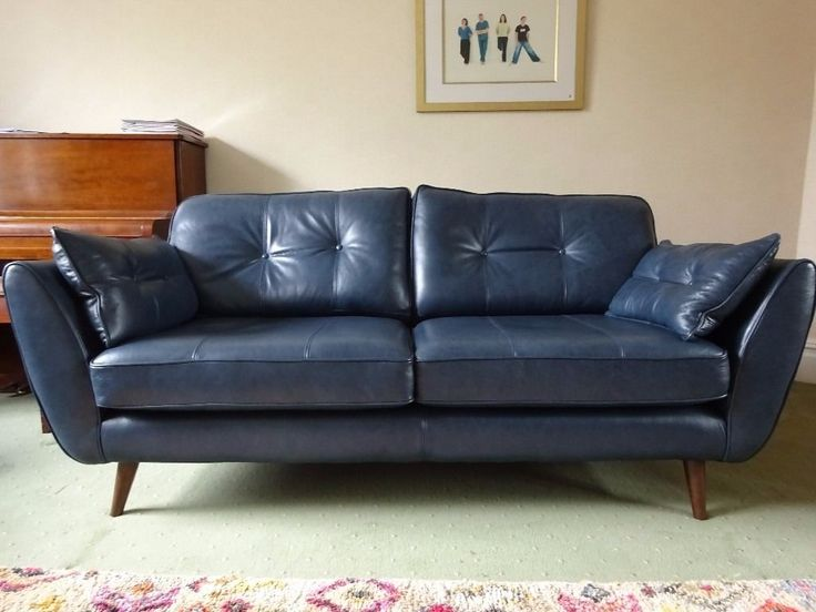 Best Dfs French Connection 3 Seater Sofa Zinc Blue Leather Dark 640 x 480