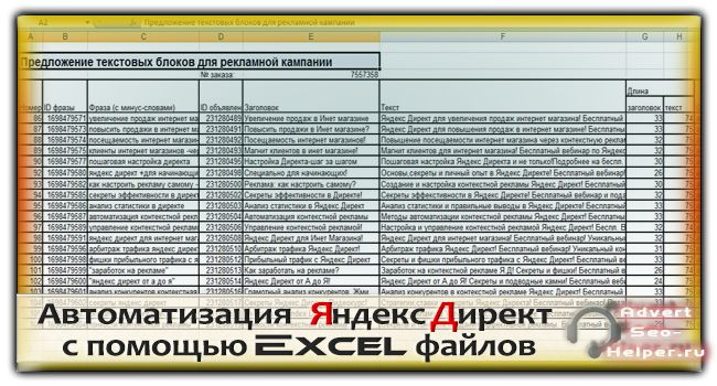 Автоматизация Яндекс Директ с помощью Excel файлов