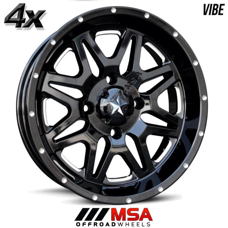 4 MSA VIBE 16x7 4x156.00 Gloss Black OFST:0mm 16 Inch Rims 16X7 Wheels