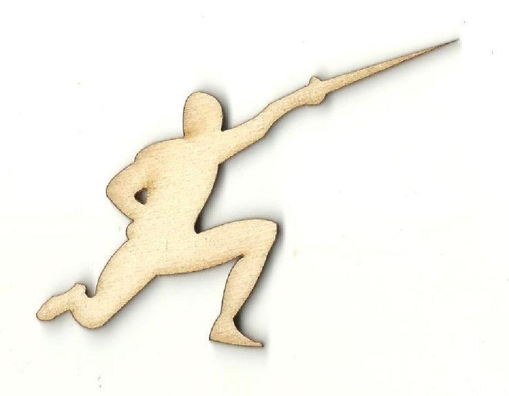 Man Fencing - Laser Cut Wood Shape SPT393