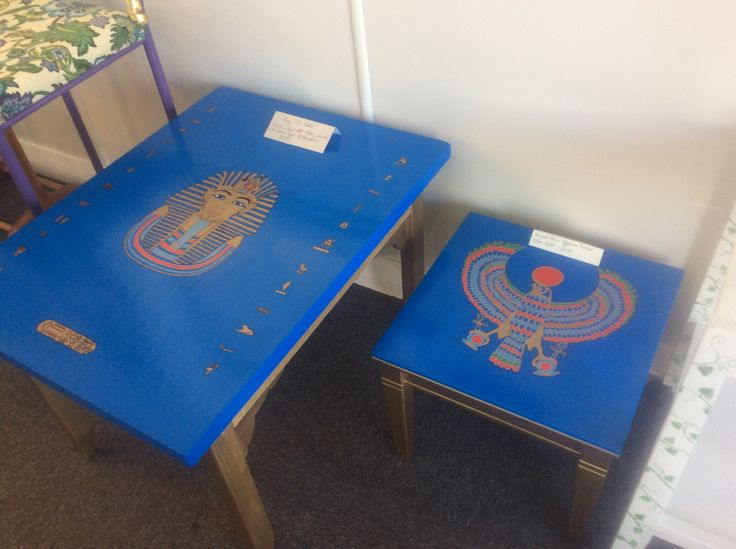 Stunning original Egyptian themed coffee tables, painted with acrylic enamels and with layers of protective polyurethane. Available to by in store at nature's palette, based at 2 railway street, Helensville. www.naturespalette.co.nz