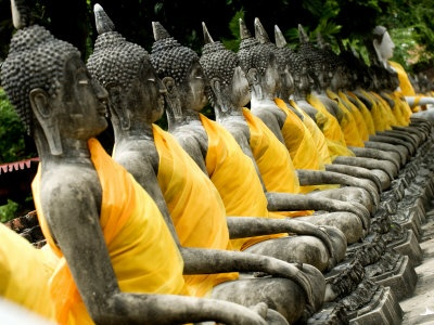 Buddha Statues, Ayuthaya, Thailand, Southeast Asia: Buddha Statue, Backyard
