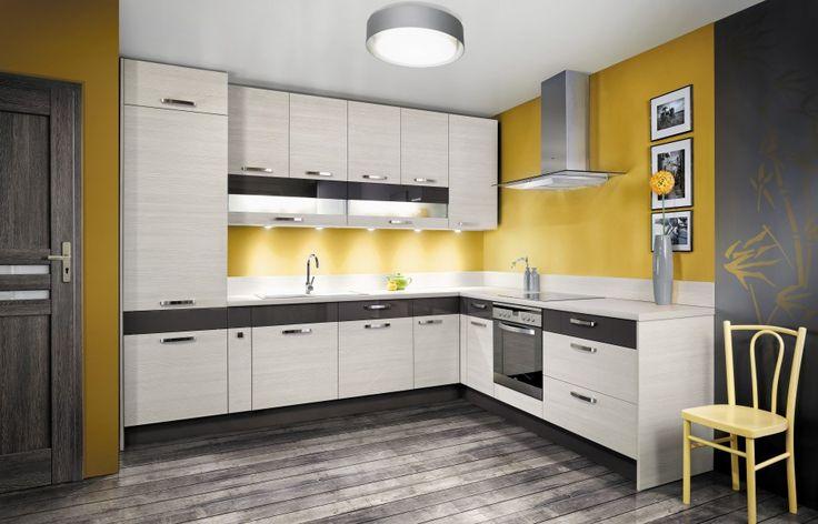 Kuchnia KAMduo XL  to piękno naturalnego drewna w postaci frontów laminowanych w kolorze Pinia biała, szampan lub brązowa połączono z płytami akrylowanymi w wysokim połysku w kolorze Wanilia i Szary. Ok. 4.800 zł, KAM