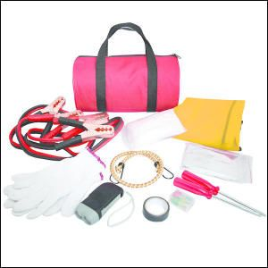 Auto Safety Kit. This auto safety kit includes: work gloves, 10 gauge - 2 metre long booster cables, bungee cord, car fuses, electrical tape, two screwdrivers - one Phillips and one flat, crank flashlight, disposable clear poncho, Mylar blanket and reflective safety vest. All contents are bulk polybagged and packed inside 600D Polyester carry case.