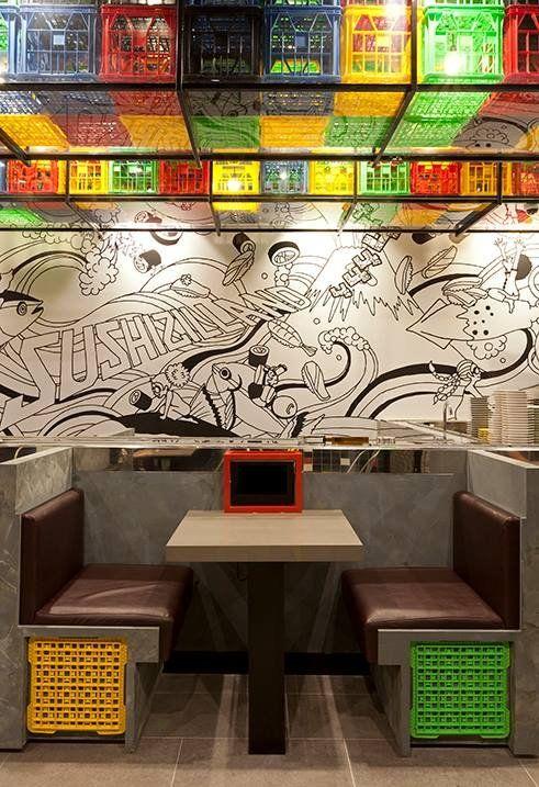 use of plastic crates / Sushizilla Restaurant by Vie Studio