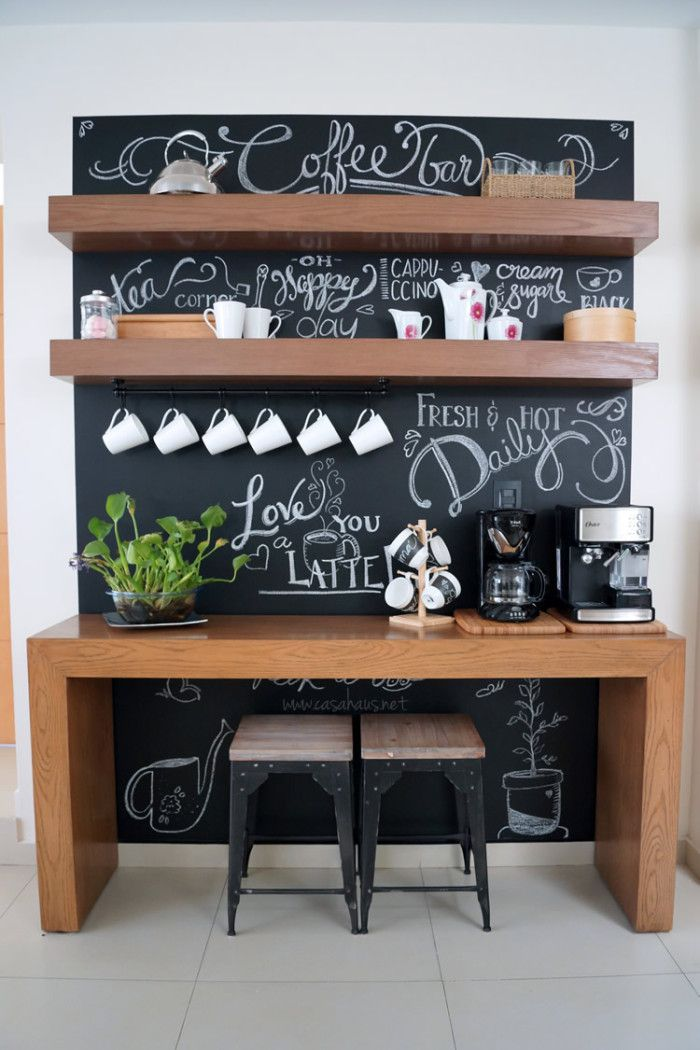 Chalkboard coffee station