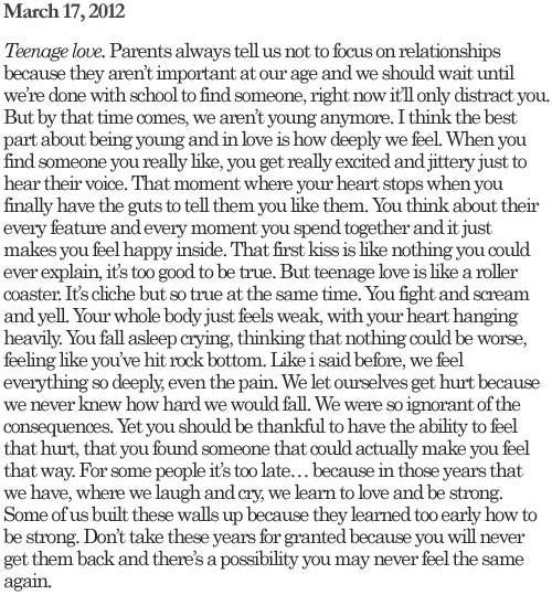 Teenage love.<3