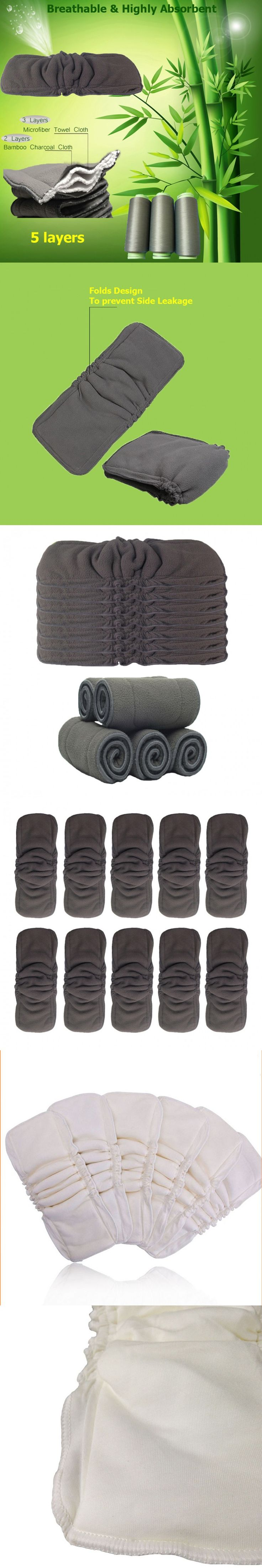 Baby Care Newborn Bamboo Diaper Inserts Washable Liner Toddler Infant 5 Layers Bamboo Charcoal Nappies Reuseable Changing Mat