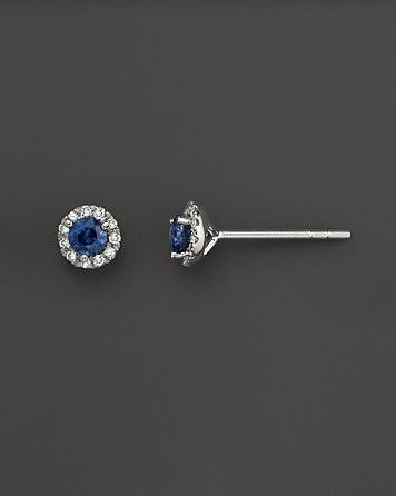 Diamond and Sapphire Earrings in 14K White Gold   Bloomingdale's