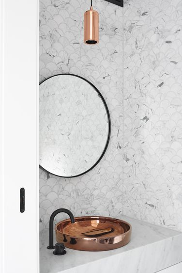 Inspiration | Marble Scalloped Tiles with Black and Copper