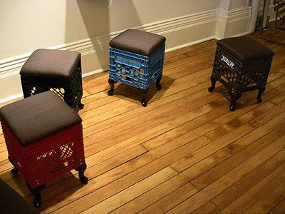 Milk crate stools.  Actually look stylish with the black pads and legs. Flip them the other way, paint them bright colors, hinge the pad and it could be great storage for a kids room.