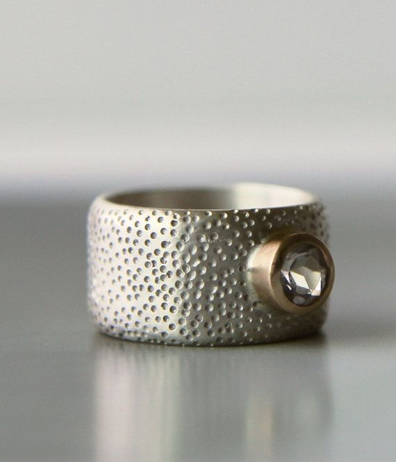 wide band engagment ring  unique wedding band  by lolide on Etsy, $345.00
