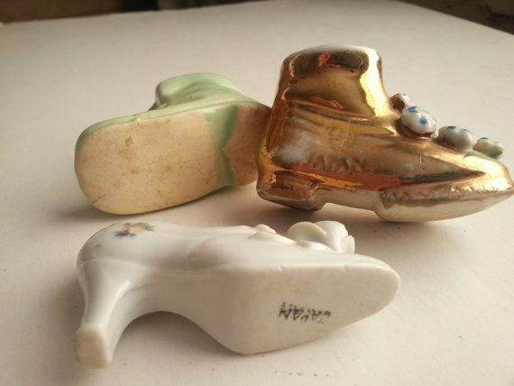 3 vintage miniature shoes . vintage pottery shoes . by GTDesigns