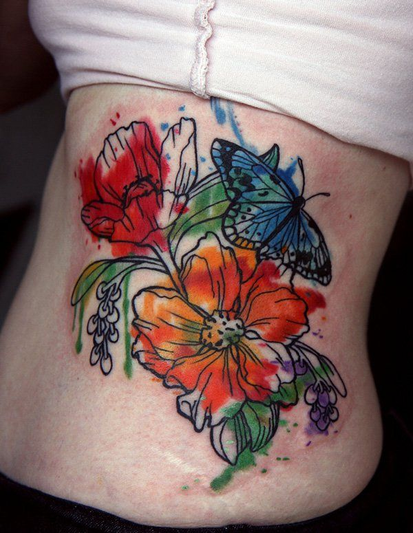 watercolor flower tattoo - 65+ Examples of Watercolor Tattoo  <3 <3