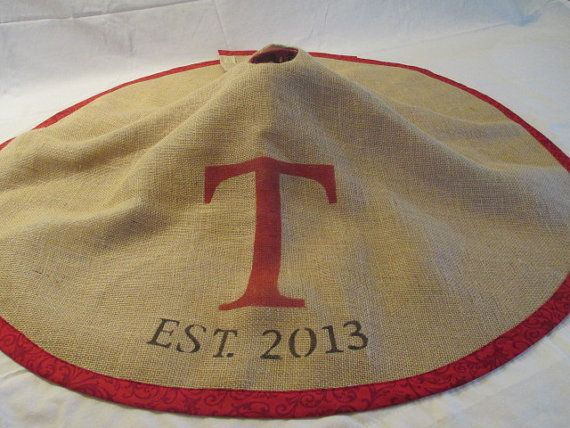 Personalized burlap tree skirt ...love it