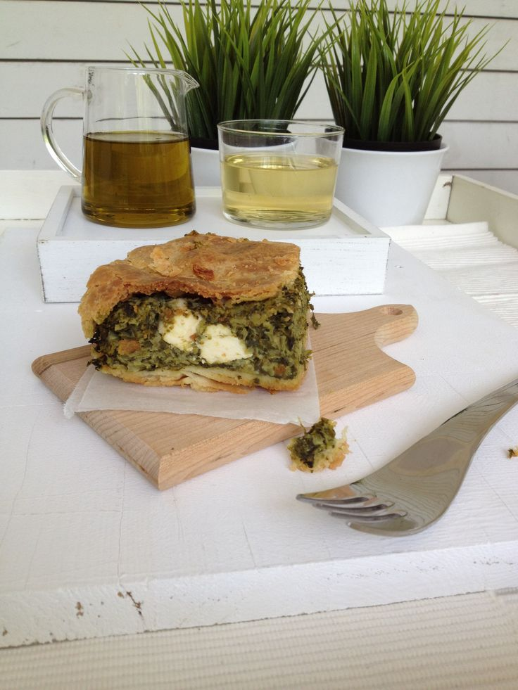 Spinach pie with feta cheese also known as spanakopita a traditional Greek pie I'd say the best!!! http://www.instyle.gr/recipe/spanakopita/