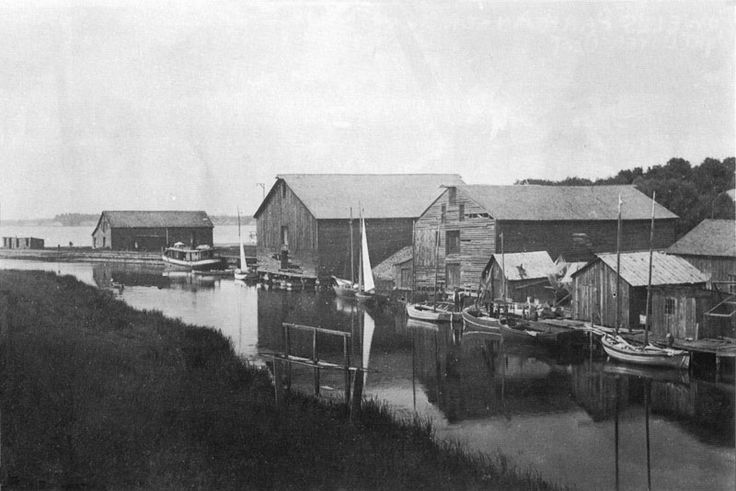 Port Dover harbor in 1892. The warehouses were used for grain storage.