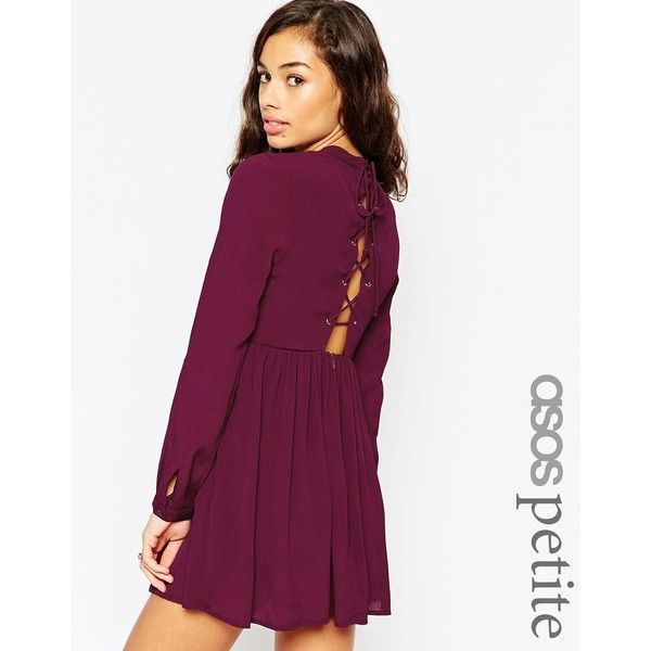 ASOS PETITE Skater Dress with Lace Up Back ($16) ❤ liked on Polyvore featuring dresses, petite, yellow, yellow dress, purple skater dress, tall dresses, woven dress and laced dress