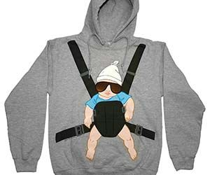 Never feel alone or cold again as long as you happen to be wearing the Hangover baby hoodie. This hilarious novelty hoodie features an awesome picture of...
