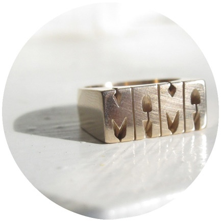 CUSTOM RING in BRASS or SILVER //  http://buenobueno.bigcartel.com/product/id-ring-mama