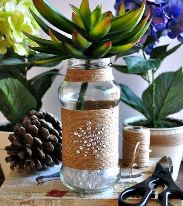 Upcycling empty sauce bottle {DIY Twine Wrapped Bottle} @Emily Schoenfeld Tan | Fuss Free Cooking @Michael Atkins W Australia l#craft #DIY #bottle
