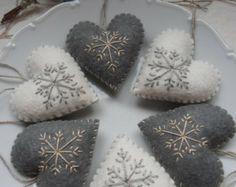 Набор чувствовал себя в форме сердца украшения - 6 штук - прекрасные милые вручную вышитые сердца детское постельное белье украшения
