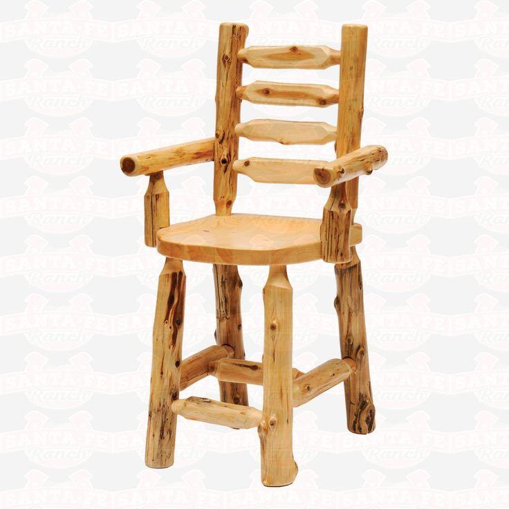 Fireside Lodge #Furniture Cedar Ladderback Log Counter Height Arm #DiningChair #rustic #rusticfurniture      http://www.santaferanch.com/