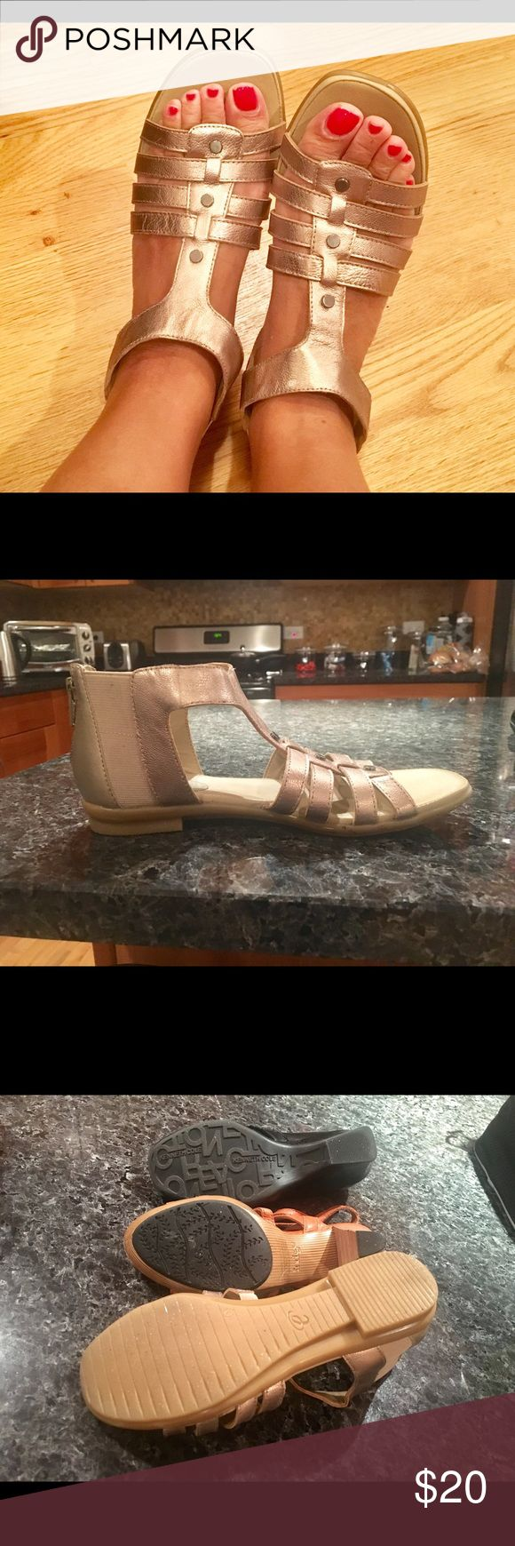 Gold Easy Spirit sandals. Worn once. Gold Easy Spirit sandals. Comfortable and durable. Make a statement with these beauties! Great with shorts, skirts, or capris. Great for walking. Worn only once. Easy Spirit Shoes Sandals