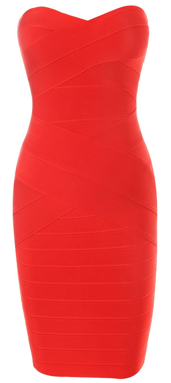 'Leyla' Red Strapless Bandage Dress... this has Vegas written all over it!
