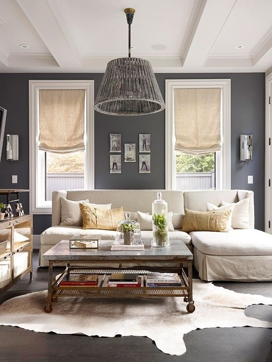 Contemporary Living Room With Standard Height Exposed Beam Crown Molding Hardwood Floors Can Lights Pendant Light Paint