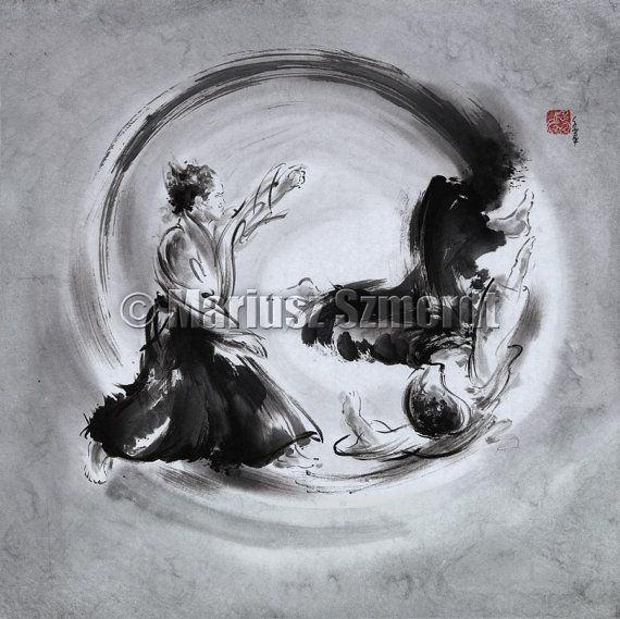 Aikido Martial Arts Painting For Sale
