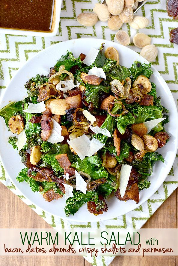 Gluten-free Warm Kale Salad with Bacon, Dates, Almonds, Crispy Shallots and Parmesan tastes like abacon-wrapped, almond-stuffed date. Seriously decadent and delicious! | iowagirleats.com