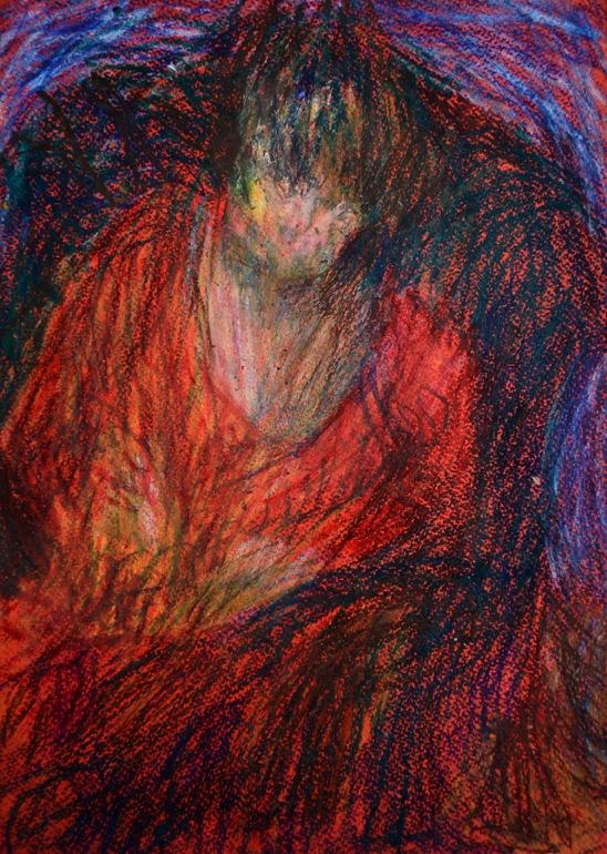 "Saatchi Online Artist: Milan Nenezic; Oil Pastel, 2004, Drawing ""Girl in the chair"""