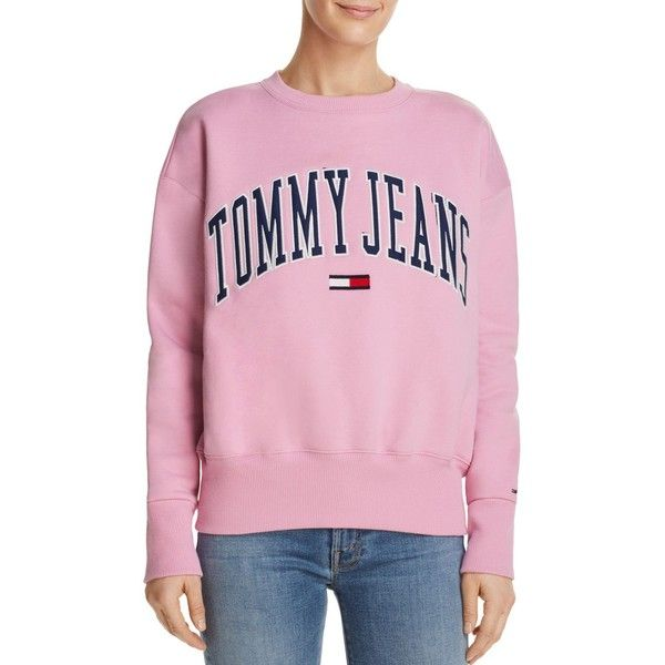 Tommy Jeans Collegiate Embroidered Logo Sweatshirt (£63) ❤ liked on Polyvore featuring tops, hoodies, sweatshirts, pink sweatshirts, collegiate sweatshirts, pink top, tommy hilfiger top and tommy hilfiger sweatshirt
