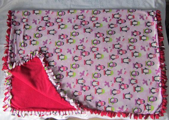 Large and cozy Penguin fleece tie blanket/throw by BriersBlankets
