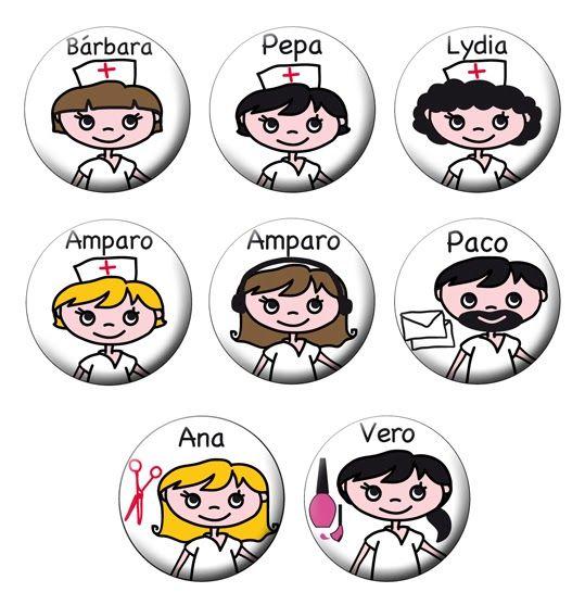 Chapas personalizadas para las enfermeras y resto de personal de una residencia de mayores.