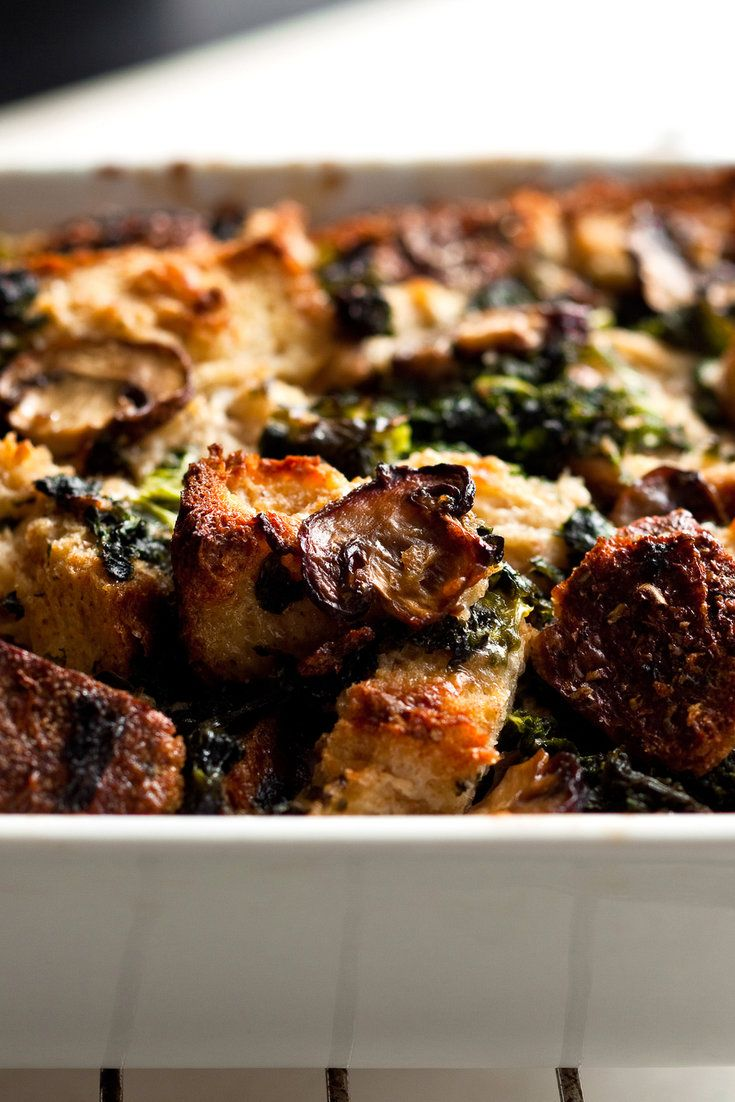 NYT Cooking: These dishes, known also as strata, can be rich, but they are just as satisfying when made with low-fat milk. The formula works well for any number of cooked vegetables tossed with stale bread and mixed with milk, eggs and cheese.