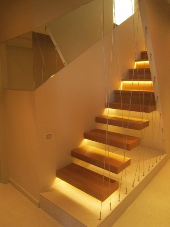 Lighting Basement Washroom Stairs: This Partial Floating Staircase Features An Angled Wall