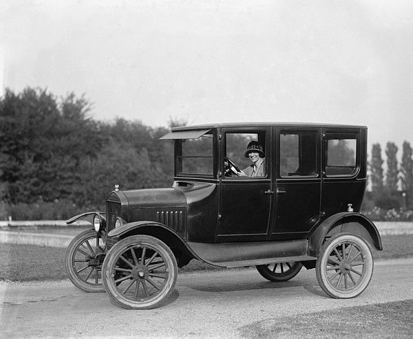 A Young Women Driver In Her Ford Canvas Print Art By Everett