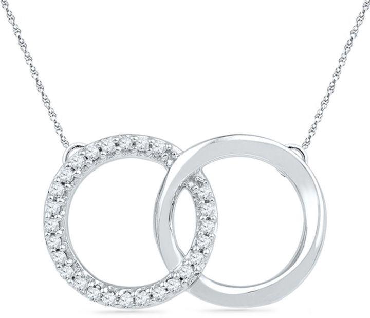 Zales 1/10 CT. T.W. Diamond Interlocking Circles Necklace in Sterling Silver