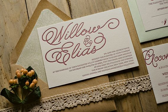 Whimsical Calligraphy Letterpress Wedding Invitation, lace wedding invitation, vintage wedding, pistachio wedding colors, blush wedding, kraft, pattern envelope liner, rustic wedding