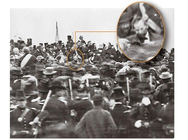 The only known photograph of Abraham Lincoln at Gettysburg, before giving his famous address. [November 19, 1863]