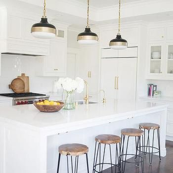White Kitchen with Crate and Barrel Origin Backless Counter Stools