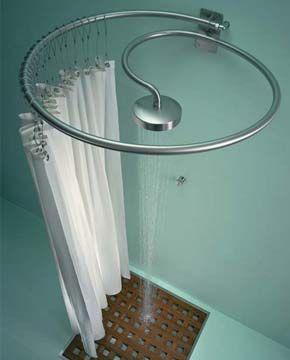 Ducha é acoplada ao suporte que segura a cortina