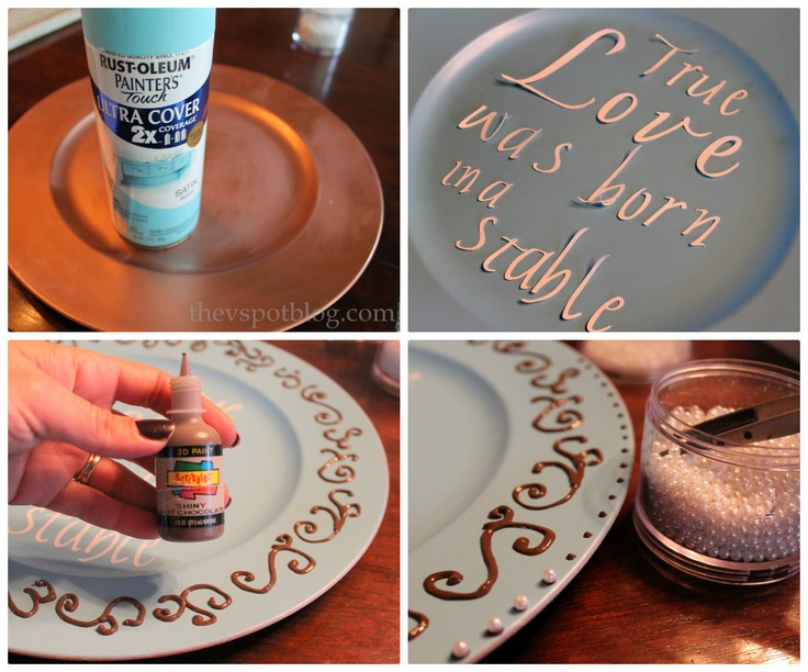 DIY 3-D Painted Plate & 42 best under plates recycled images on Pinterest | Charger plates ...