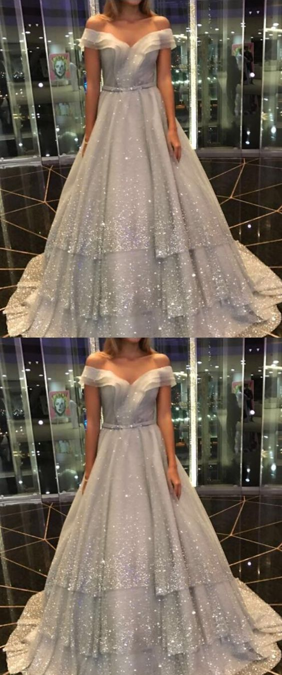 elegant off the shoulder gray prom dress, shiny tiered party dress with sequins