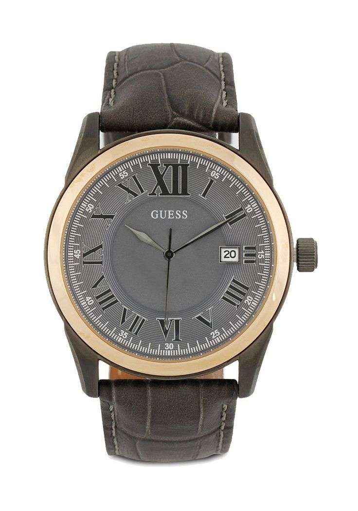 Dark Brown Analog Hw01.10613G1 Watch by Guess, with stainless steel case, with leather strap, mainly watch, with diameter 4.5 cm, water resistant,  strap length 27 cm, this watch suitable for everyday use or formal occasion.   http://www.zocko.com/z/JGr8f