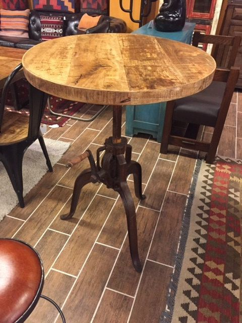Distressed Industrial crank bistro table 30