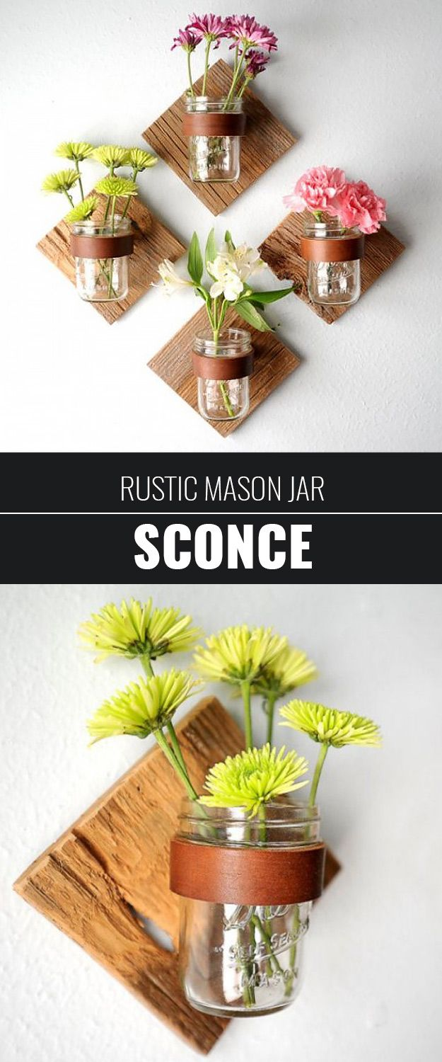 Cute DIY Mason Jar Ideas - DIY Rustic Mason Jar Sconce - Fun Crafts, Creative Room Decor, Homemade Gifts, Creative Home Decor Projects and DIY Mason Jar Lights - Cool Crafts for Teens and Tween Girls http://diyprojectsforteens.stfi.re/cute-diy-mason-jar-crafts