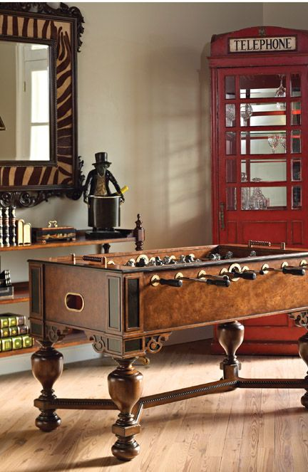 Napoleon Brown And Antique Aubergine Finished Foosball Table, Monkey U0026 Lion  Players